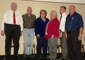 Council candidates (Left to Right) Dave Ballweg, George Rapson, CJ Larsen, Cindi Delaney, Dave West and Mike Benham at the Forum.