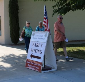 Mesquite residents voted early at the Mesquite Deuce 2 polling location on Tuesday, June 7. The first of two days of early voting saw steady streams of participants. Photo by Barbara Ellestad.