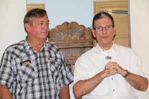 Dr. Joe Heck (R-NV-CD3), right, made a campaign stop at local pizza parlor Bella's on Saturday, July 16. Heck is running for U.S. Senate to replace Harry Reid. Congressmen Cresent Hardy (R-NV-CD4), left, accompanied Heck at two other Nevada towns earlier in the day. Photo by Barbara Ellestad.