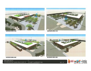 The Mesquite City Council approved architectural plans for a new 16,000 square foot library facility on the corner of Mesquite Boulevard and Desert Road. Construction is set to begin in January 2017. Aerial views clockwise from top left are northeast, northwest, southwest, and southeast.