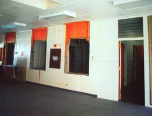 Theatre Lobby before the 2009 remodel.  The lobby was once the elementary school's  office.  Photo courtesy of Bob Nelson