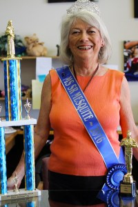 Jean Hardman, Ms. Senior Mesquite 2016 proudly displays her trophies from the 2016 Ms. Senior Nevada competition.  Hardman won trophies for first runner-up and the talent competition. Photo by Teri Nehrenz