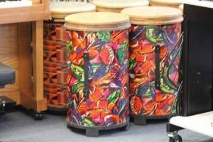 Bennett applied for and received a grant from Project GET SMART and Adopt-A-Classroom for the purchase of five drums, 4 Shekeres and songbooks that she will use to teach her students rhythm and melody.  Photo by Teri Nehrenz