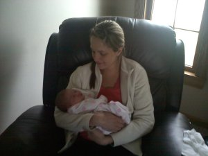 Holding Avery for the first time after getting home.