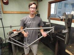 Justin with tacked frame