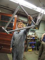 Dan with tacked frame