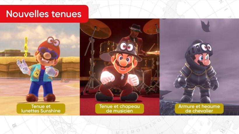 Mise à jour Super Mario Odyssey date de sortie nouvelles tenues