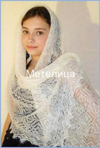 Оренбургский палантин белый с изумительным узором