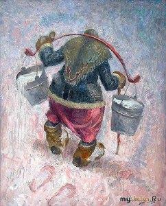 Бабушка в пуховом платке несёт воду