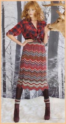 Оригинальная вязаная юбка на девушке