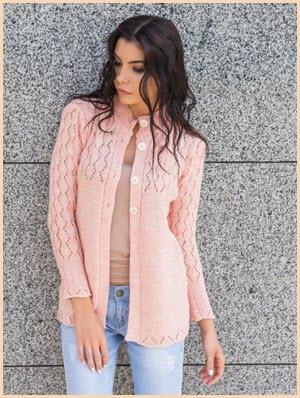 Ажурная розовая кофточка