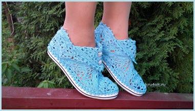 Вязаные тажурные туфли
