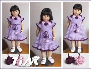 Большая кукла в красивом вязаном платье