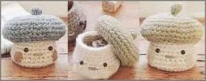 Прикольные вязаные шкатулки грибы