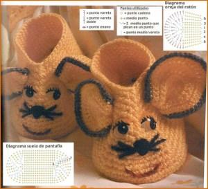 Вязаные тапки мышки для малыша