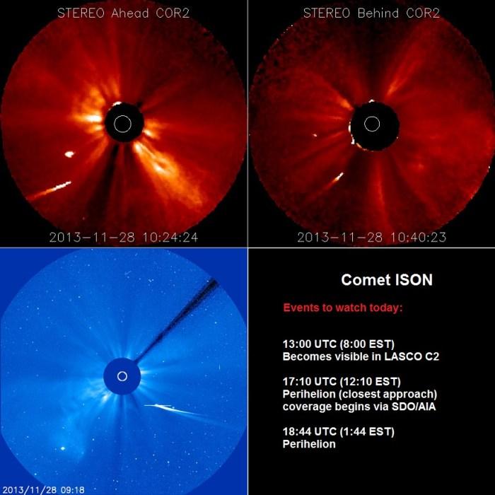 En imágenes: el cometa Ison sigue vivo en su aproximación al Sol