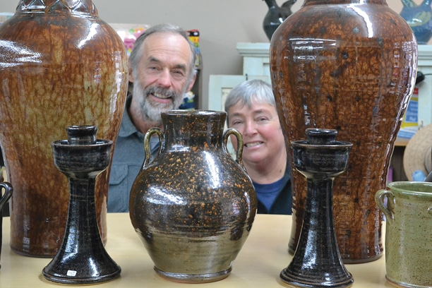 John and Agnes Almquist's high-fired stoneware takes many forms including urns, vases, candlesticks and birdhouses. Wood firing and exclusive glazes create one-of-a-kind effects. Photo by Laurelle Walsh