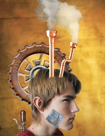 """Steampunk,"" a creation of LBHS students Tom Zbyszewski and Joe Hausman, won an award in a regional art competition."