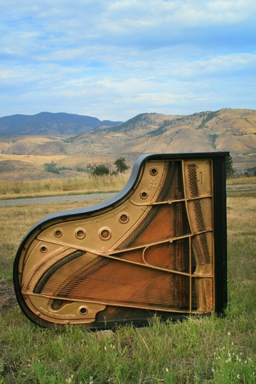 Howard Johnson is collecting used pianos for a sculptural installation at his home. Photo by Marcy Stamper