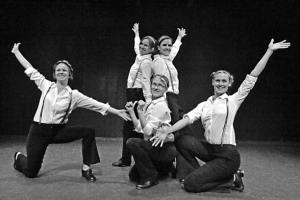 """Led by choreographer Lyndsay Frady, center, dancers Deirdre Luvon, left, Melissa Raye, Sarah DeKalb and Christina Stout perform a group tap dance called """"Pencil Full of Lead."""" Photo by Laurelle Walsh"""