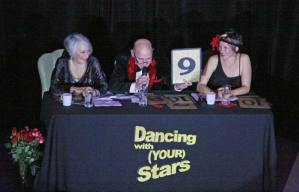 Judges for the event were, from left, Carolanne Steinebach, Danbert Nobacon and the Deirdre Luvon. Photo by Marcy Stamper