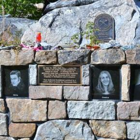 "The Thirtymile Fire memorial, which reads ""They will not be forgotten,"" sits at the Chewuch River site where four young firefighters — Tom Craven, Jessica Johnson, Devin Weaver and Karen Fitzpatrick — lost their lives  in 2001. The memorial has attracted the offerings of countless individuals over the years, but especially last summer when wildland firefighters from across the country came again to the valley to fight the Carlton Complex Fire. Recent visitors to the site have left written messages, signed T-shirts, caps, bottles of Gatorade and tins of chewing tobacco on the rock wall above engraved portraits of the fallen.Photo by Laurelle Walsh"