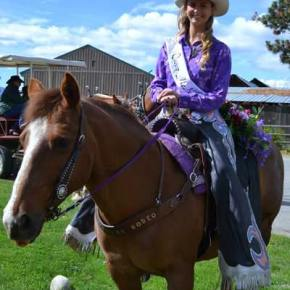 Rodeo Queen McKenna Risley and her quarter horse Sally Mae line up with the Methow Valley Rodeo. Photo by Laurelle Walsh