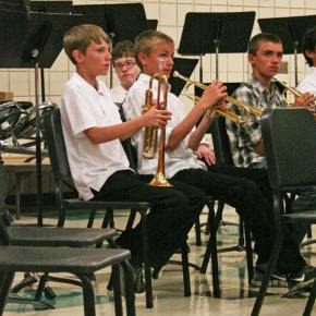 The concert band trumpet section. Photo by Darla Hussey