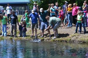Sometimes it takes a village to land a trout, especially when four people's lines are connected to it. Photo by Laurelle Walsh/i>