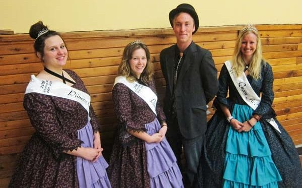 Photo by Don Nelson The junior royalty court for the ' 49er Days celebration — from left, princess Courtney Smith, princess Mollie Houser, king Chase Vander Yacht and queen McKenna Barnes — visited the Winthrop Chamber of Commerce meeting last week.