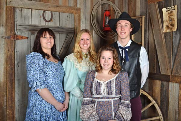 Photo by Ms. Kitty's Old Time Photography Junior royalty for the 2016 '49er Days celebration are, from left, Princess Courtney Smith, Queen McKenna Barnes, Princess Mollie Houser, and King Chase Vander Yacht.