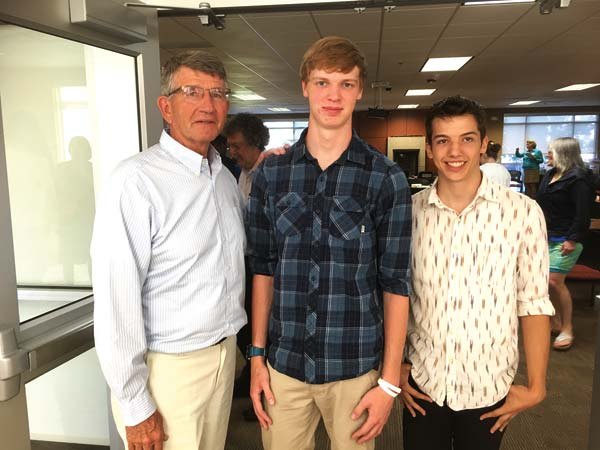 Courtesy Ben Rarick, Washington State Board of Education State Superintendent of Public Instruction Randy Dorn, left, was impressed by the motivation of ILC students Damien Wallis, center, and Trevor Ritchey.