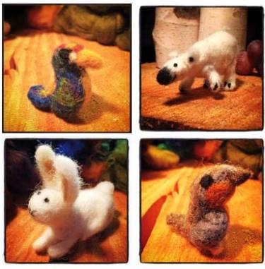 Photos courtesy of Melissa Kendrick  Felted critters created by guests at Melissa Kendrick's ProletariArt, Art for Commoners party in Carlton