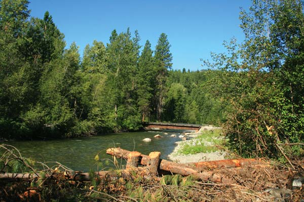 Photo by Marcy Stamper A temporary bridge built for the Newby Narrows Fish Habitat Enhancement Project will be removed.