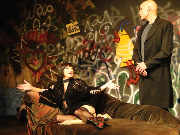 Photo courtesy of Ki Gottberg Vanda (played by Missi Smith) and Thomas (played by Chris Behrens) quickly develop an intense relationship in Venus in Fur.