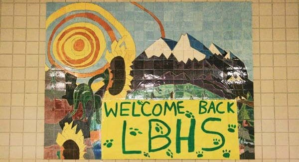 """Photo by Marcy Stamper Methow Valley schools opened on Tuesday (Aug. 30) with """"welcome back"""" messages greeting students and staff."""