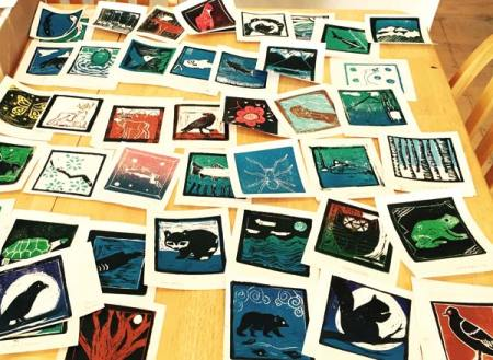 Photo courtesy of Confluence Gallery Block prints made by Methow Valley Elementary School students will be on display in the Loovre.