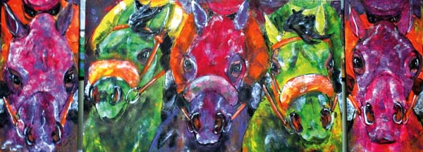 """Photo courtesy of Ginger Reddington The award-winning painting, """"Tri Triptych Perfecta,"""" will be on display at Emerald Downs."""