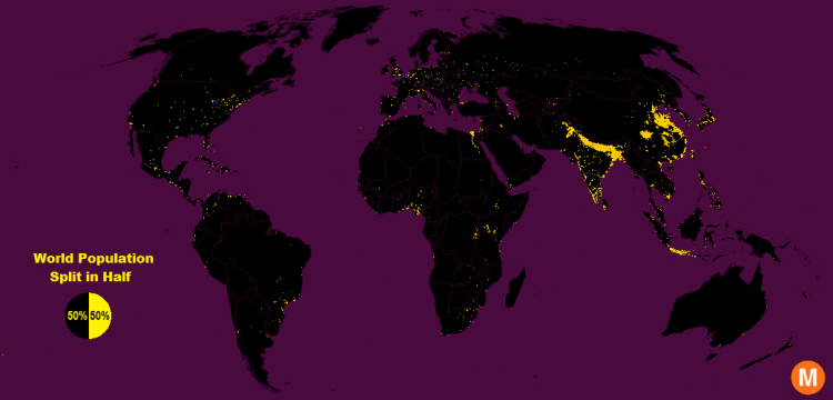 world population split in half map
