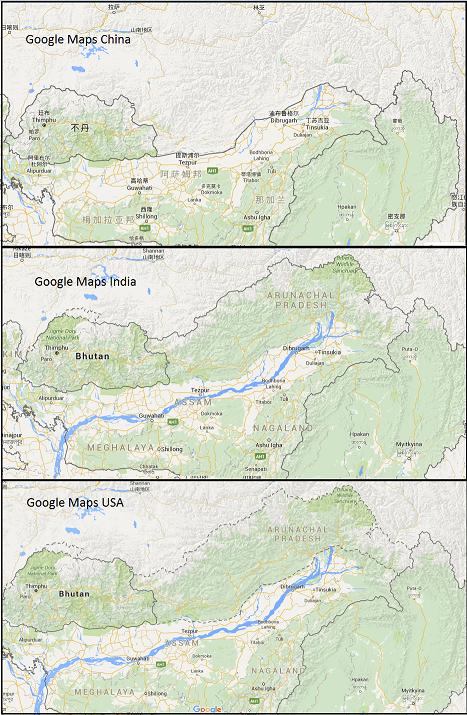 arunachal pradesh google maps borders