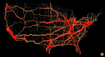 usa traffic flow map large