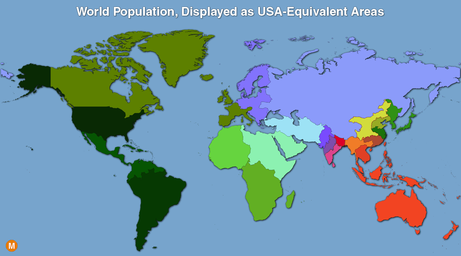 The Worlds Population Mapped As USAEquivalent Areas Metrocosm - Us map population proportion to smallest state grid