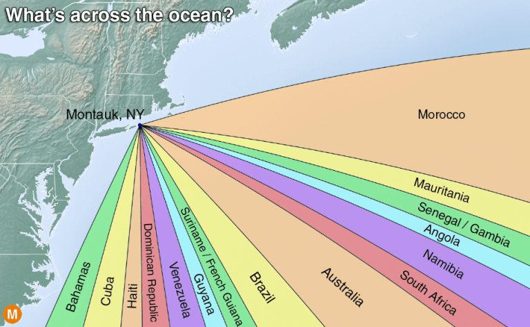 map of whats across the ocean