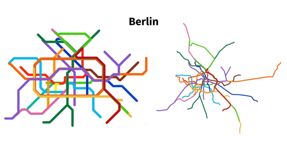 Mighty Morphing Metro Maps - Watch Transit Maps Transform to Real-Life Geography