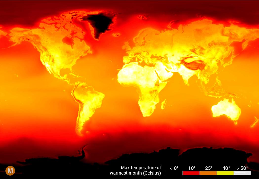global peak temperature map