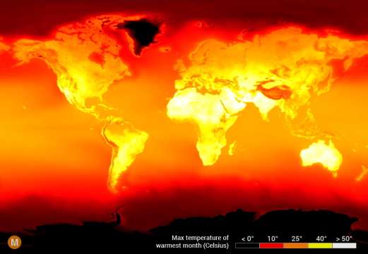 global peak temperature map