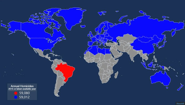 Homicides map: World vs Brazil