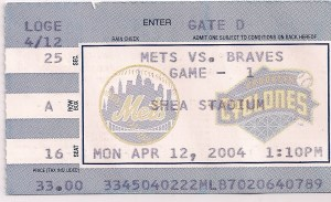 2004 Mets Opening Day ticket stub