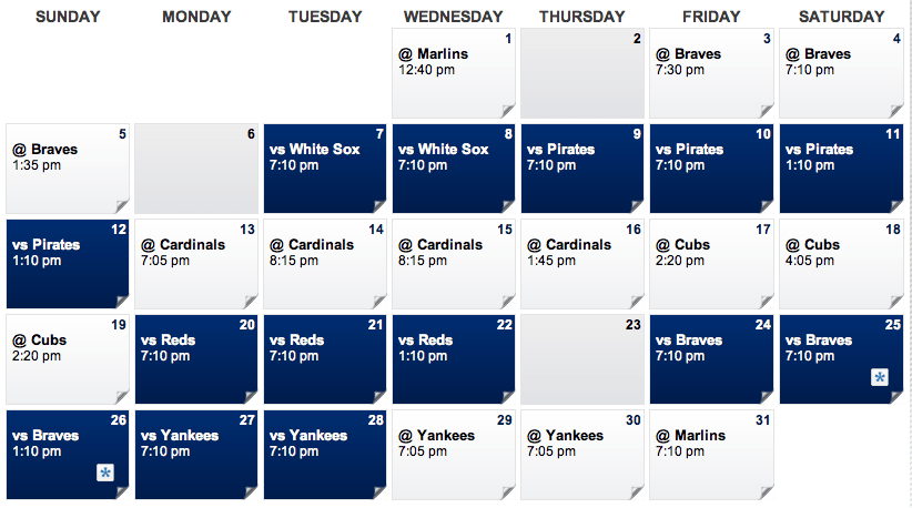 May Mets Schedule