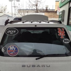 car with sports logos